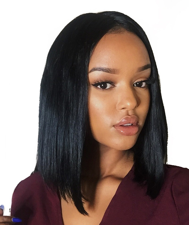 Fashion Silky Straight Short Bob Hairstyle Indian Remy Hair Glueless