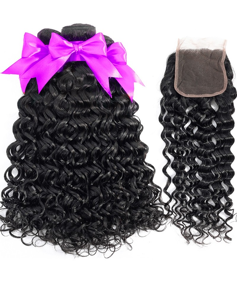 7A Indian Water Wave 3 Bundles With Closure 100% Human Hair 3 Bundles With Lace Closure Natural Black Remy Hair Weft [WIWW02]