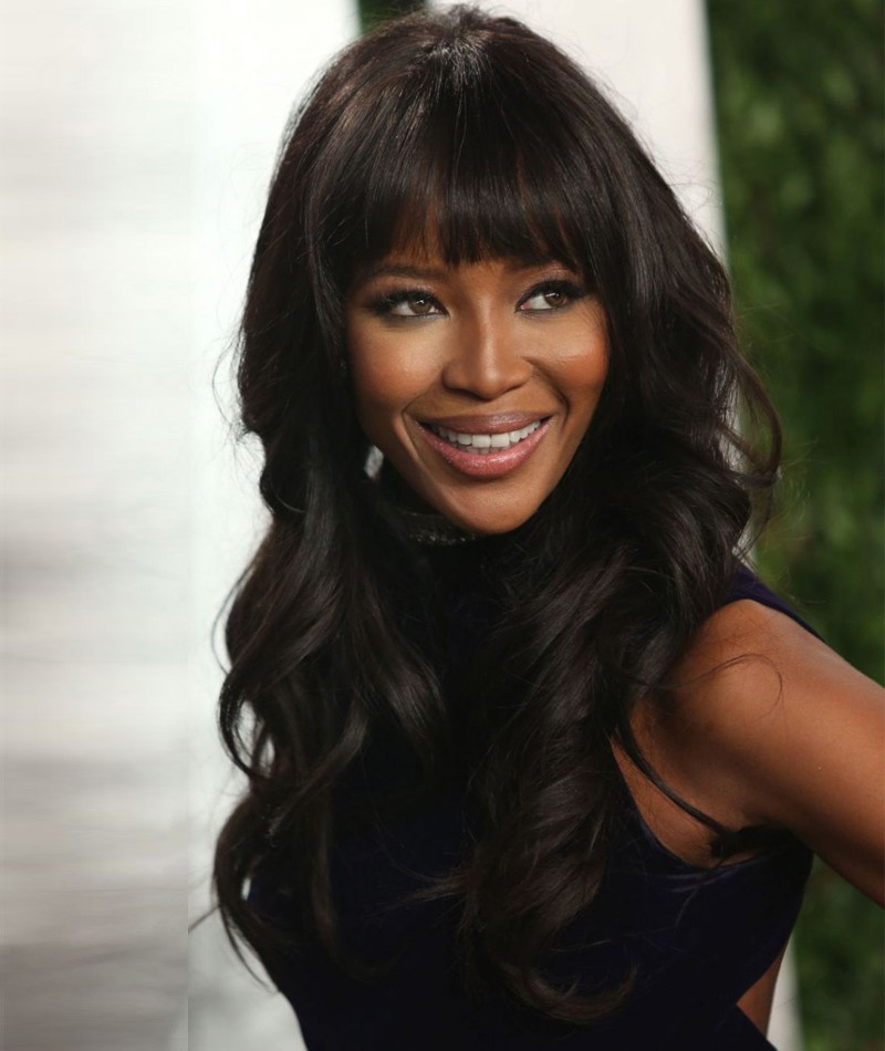 Naomi Campbell Inspired Big Wave With Bangs Indian 130% Thick Density Virgin Human Hair Lace Wigs