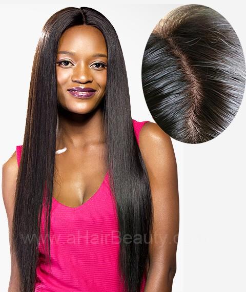 Brazilian Virgin Hair Straight 4''X4'' Silk Base Human Hair Wig 130 Density Glueless Silk Top Lace Wig Baby Hair Bleached Knots for Black Women