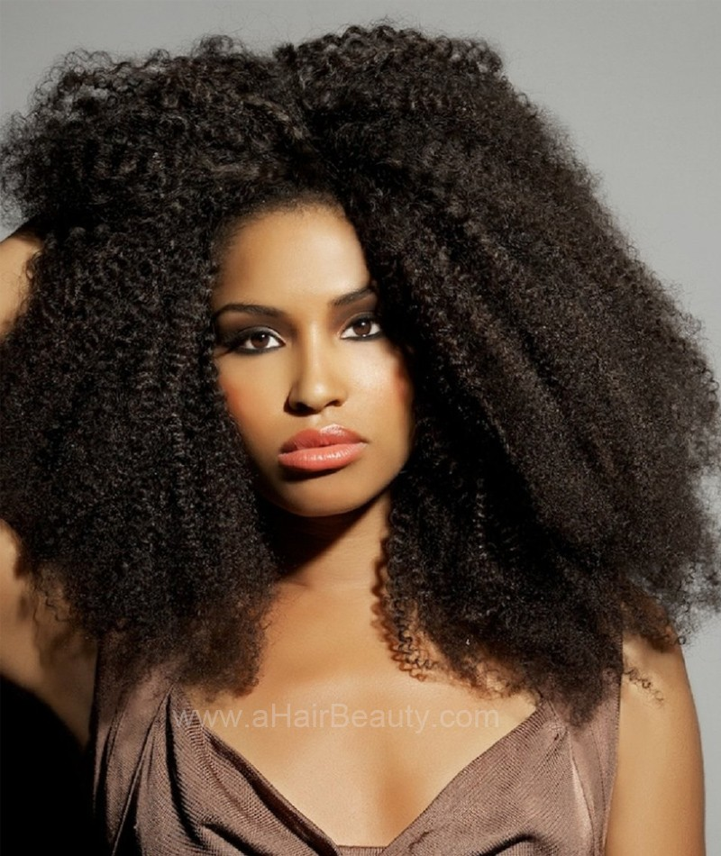 Afro Curl Virgin Brazilian Hair Glueless Full Lace Wigs Natural Color