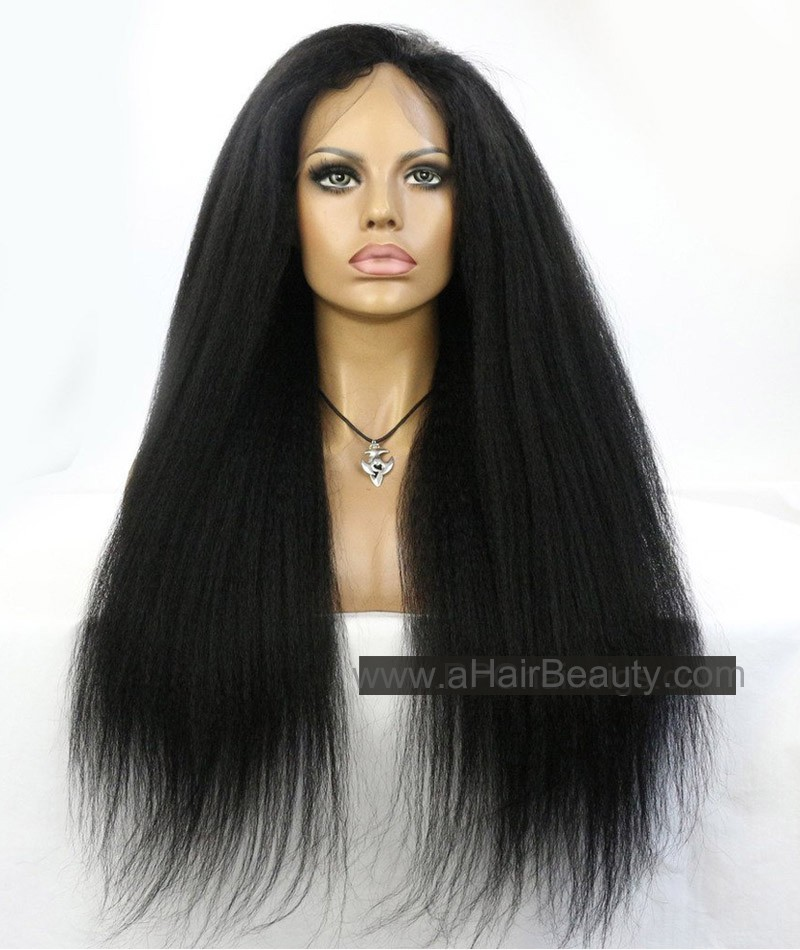 Kinky Straight Indian Remy Human Hair Lace Front Wigs For Black