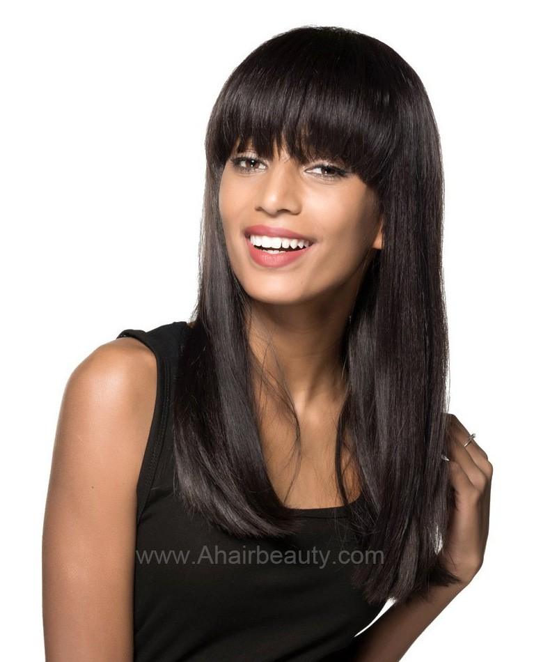 d59ec27e86 Full Bangs Natural Straight Glueless Lace Front Wig Natural Black Indian  Remy Hair On Sale [IMCS01] - aHairBeauty