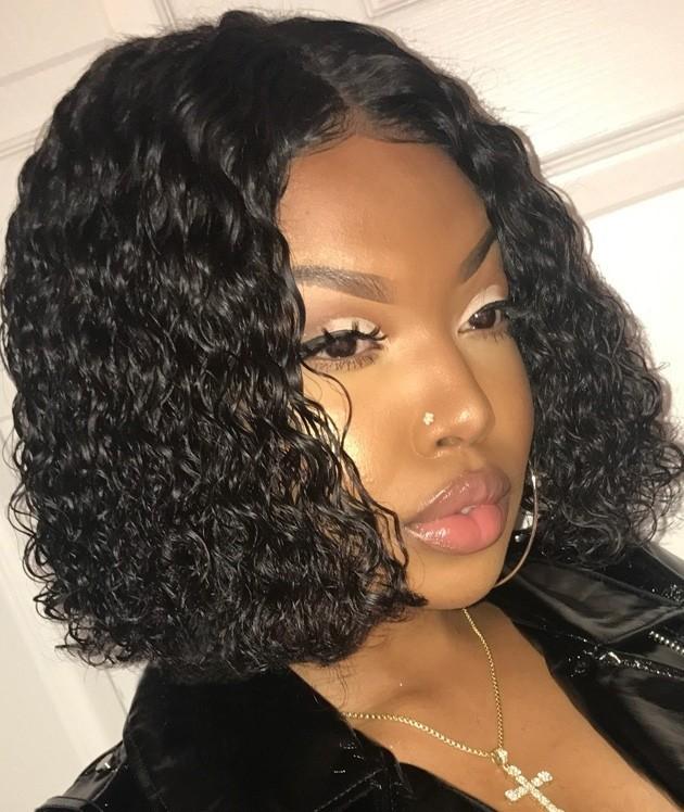 180% Density Fashion Curly Bob Lace Wigs Indian Remy Hair Good Quality [BBW12]