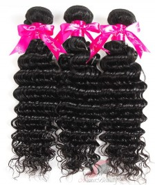 Deep Wave3 PCS Human Hair Bundles Double Weft 7A Indian Remy Hair Weave Bundles