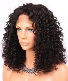 Sexy Curly Indian Remy Human Hair Lace Front Wigs Natural Color [ILWL12]