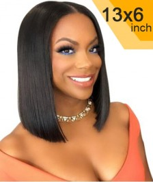 6x13inch Deep Part Short Bob Wig Silky Straight Lace Front Wigs Indian Remy Hair New [DP06]