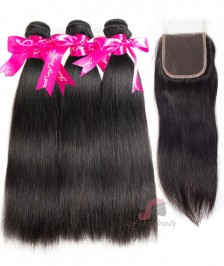 7A Indian Silky Straight 3 Bundles With Closure 100% Human Hair 3 Bundles With Lace Closure Natural Black Remy Hair Weft [WISK02]