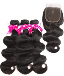 7A Indian Body Wave Bundles With Closure 100% Human Hair 3 Bundles With Lace Closure Natural Black Remy Hair Weft [WIBW02]