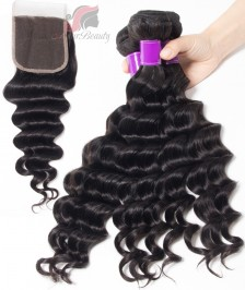 7A Indian Loose Deep 3 Bundles With Closure 100% Human Hair 3 Bundles With Lace Closure Natural Black Remy Hair Weft [WILW02]