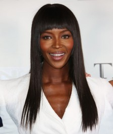 Naomi Campbell Inspired Straight With Bangs Brazilian 18 inch130% Thick Density Virgin Human Hair Lace Wigs