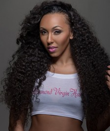 Indian Remy Curly Hair Glueless Full Lace Wigs Natural Color [IFLW02]