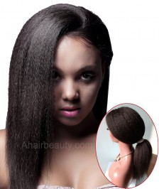 360 Lace Wig 180% Density Kinky Straight Brazilian Virgin Hair Pre-plucked