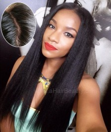 4''X4'' Silk Base Human Hair Wig Brazilian Virgin Hair Yaki Straight 130 Density Glueless Silk Top Lace Wig with Baby Hair Bleached Knots for Black Women