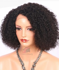 Fashion Afro Curl Short Bob Hairstyle Indian Remy Hair Glueless Lace Front Wigs [BBW19]