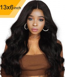 New Style 6x13inch Deep Part Lace Front Wigs Indian Remy Hair New Body Wave[DPBW01]