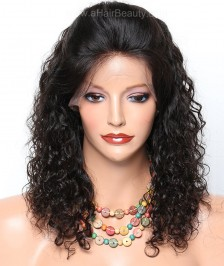 Indian Remy Human Curly Hair Glueless Lace Front Wigs Natural Color with Baby Hair