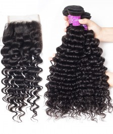 7A Indian Deep Wave Bundles With Closure 100% Human Hair 3 Bundles With Lace Closure Natural Black Remy Hair Weft [WIDW02]