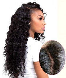 Brazilian Virgin Hair Loose Curly 4''X4'' Silk Base Human Hair Wig 130 Density Glueless Silk Top Lace Front Wig Baby Hair Bleached Knots for Black Women