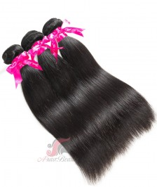 Silky Straight 3 PCS Human Hair Bundles Double Weft 7A Indian Remy Hair Weave Bundles [WIS01]
