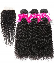 7A Indian Kinky Curly 3 Bundles With Closure 100% Human Hair 3 Bundles With Lace Closure Natural Black Remy Hair Weft [WIKC02]