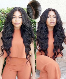Body Wave 4''X4'' Silk Base Human Hair Wig Brazilian Virgin Hair  130 Density Glueless Silk Top Lace Wig with Baby Hair Bleached Knots for Black Women