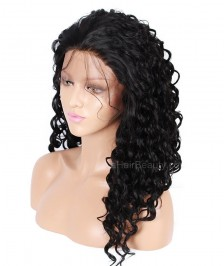 Brazilian Virgin Human Hair Full Lace Wigs Water Wave Natural Color