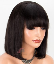 Indian Remy Hair Silky Straight Short Bob Wig with Bang Glueless Lace Front Wigs [BBW18]