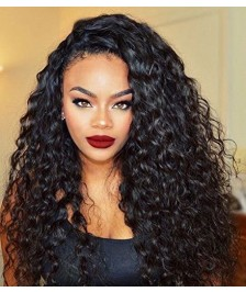 Indian Remy Human Hair Loose Curl Full Lace Wigs Natural Color