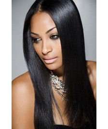 Hot Silky Straight Human Hair Indian Virgin Remy Full Lace Wigs Natural Color