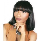 Full Bangs Natural Straight Glueless Lace Front  Wig Natural Black Indian Remy Hair On Sale [IMCS02]